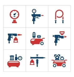 Set color icons of compressor and accessories vector