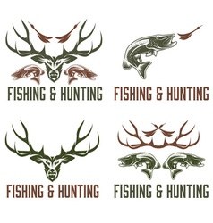 Set of vintage hunting and fishing labels and vector