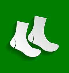Socks sign paper whitish icon with soft vector