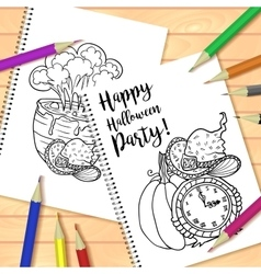 Spiral bound notepad or coloring book with pencils vector image