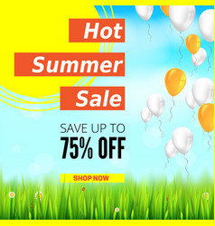 summer selling ad banner with an inflatable vector image