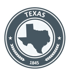 Texas stamp with state map silhouette vector