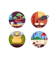 Zen buddhist icons set vector image vector image