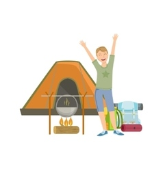 Cheerful man with tent bonfire and backpack vector