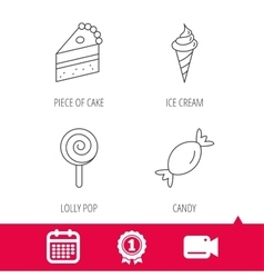 Cake candy and ice cream icons vector