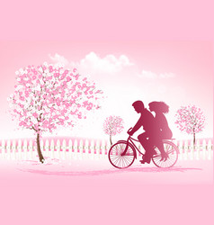 Couple riding a bike in a park vector