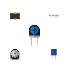 flat technology set of receptacle microprocessor vector image