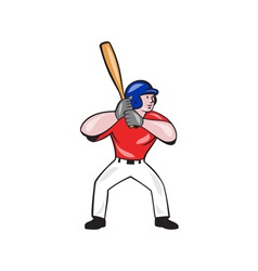 Baseball player batting front isolated cartoon vector