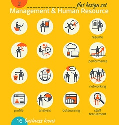 Business icon set management human resources vector