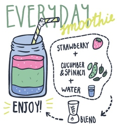 Everyday hand drawn smoothie recipe vector