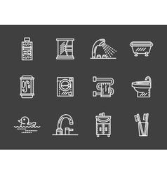 Bath objects white line icons collection vector