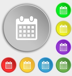 Calendar page icon sign symbol on eight flat vector