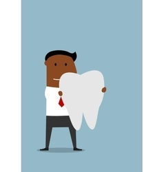 Businessman with a large white tooth vector