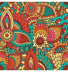 Hand drawn seamless pattern with floral elements vector