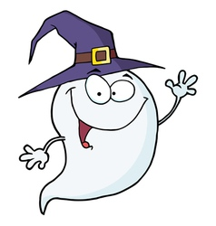 Happy halloween ghost flying vector