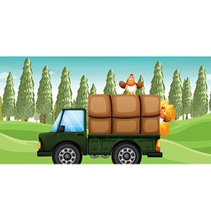 A chicken above a truck vector image vector image