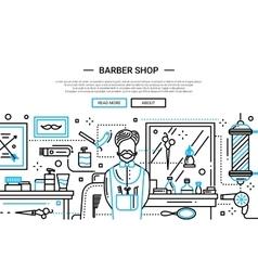 Barber shop in the city - website banner vector