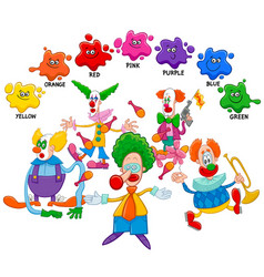basic colors educational page with clowns vector image vector image
