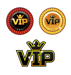 Black vip symbol and gold award ribbons vector
