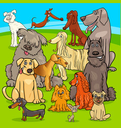 Breed dogs cartoon characters group vector