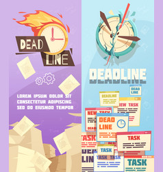 Business work deadline vertical banners vector