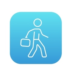 Businessman walking with briefcase line icon vector