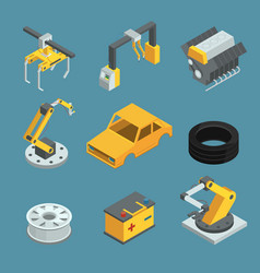 car factory different technic for manufacturing vector image vector image