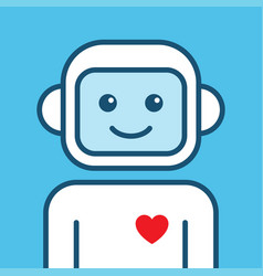 Chatbot icon outline robot sign on a blue vector