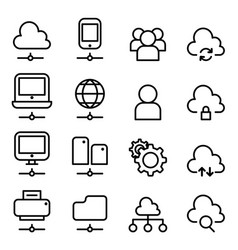 cloud computing technology icon in thin line style vector image