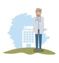 Color landscape with hospital of background and vector