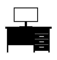 Computer desk simple icon vector