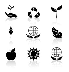 Ecology Icons Set Black vector image vector image