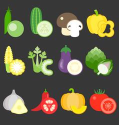 Flat design vegetables icons set 2 vector