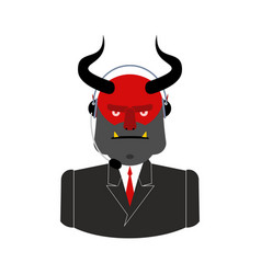 Hell call center satan with headset devil vector