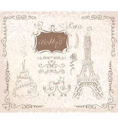 Love in Paris doodles vector image