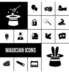 Magician icons black set vector