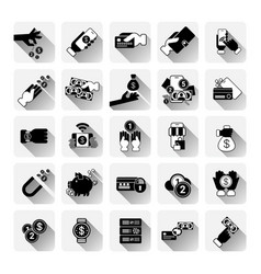 Money icons set mobile banking contactless payment vector