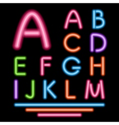 Neon Tube Letters Multicolor Glowing Font vector image vector image