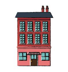 Nice city building three-storey street cafe or vector