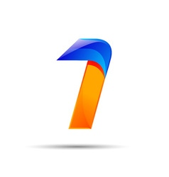 Number one 1 logo orange and blue color with fast vector