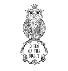 Owl bird sitting on sign with inscription queen of vector