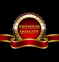 premium quality guaranteed golden label with red r vector image