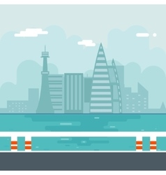 River water sea modern city background flat design vector