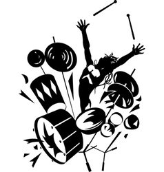 Rock drummer silhouette vector image