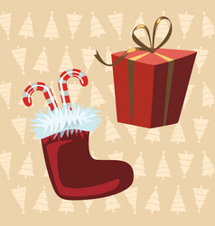 Santa claus boots and red gift yellow background vector