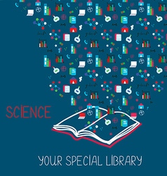 Science placard with book and information symbols vector image
