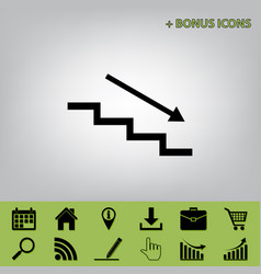 Stair down with arrow black icon at gray vector