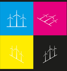 Wind turbines sign white icon with vector