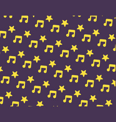yellow music and star icon pattern on dark purple vector image vector image