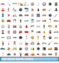 100 road work icons set cartoon style vector